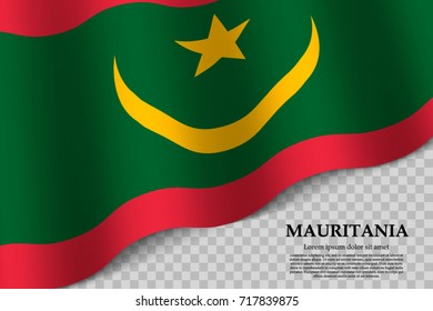 waving flag of Mauritania on transparent background. Template for independence day. vector illustration