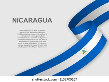 waving flag of Nicaragua. Template for independence day. vector illustration