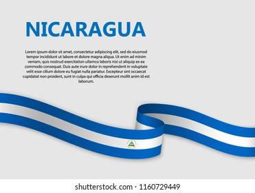 Waving Flag of Nicaragua, vector illustration