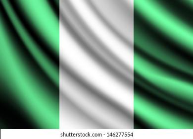 Waving flag of Nigeria, vector