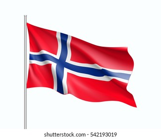 Waving flag of Norway state. Illustration of European country flag on flagpole. Vector 3d icon isolated on white background