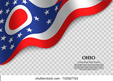 waving flag of Ohio is a state of USA on transparent background. Template for banner or poster. vector illustration