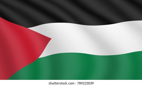 Waving flag of Palestine. Current national flag of the State of Palestine. Illustration of lying wavy shaded flag of Palestine country. Background with palestinian flag.