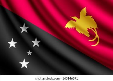 Waving flag of Papua New Guinea, vector