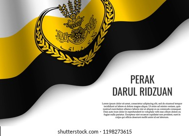 waving flag of Perak Darul Ridzuan is a region of Malaysia on transparent background. Template for banner or poster. vector illustration