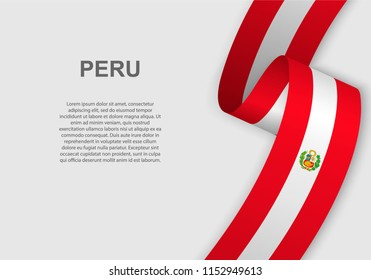 waving flag of Peru. Template for independence day. vector illustration
