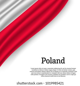 waving flag of Poland on white background. Template for independence day. vector illustration