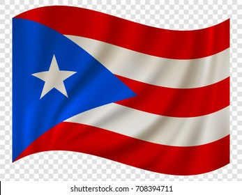 Waving Flag of Puerto Rico is a state of USA. Vector illustration