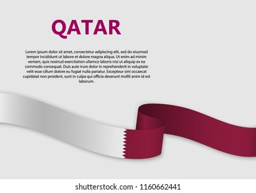 Waving Flag of Qatar, vector illustration