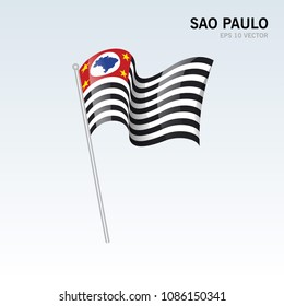 Waving flag of Sao Paulo states,federal district of Brazil isolated on gray background