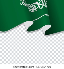 Waving flag of Saudi Arabia for independence Day isolated on transparent background