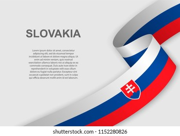 waving flag of Slovakia. Template for independence day. vector illustration