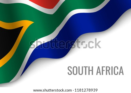 Waving Flag South Africa Copyspace Template Stock Vector