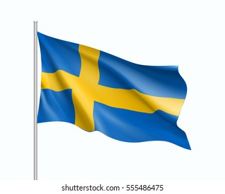 Waving flag of Sweden state. Illustration of European country flag on flagpole. Vector 3d icon isolated on white background