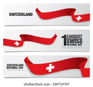 Waving flag of Switzerland. Set of the swiss banners