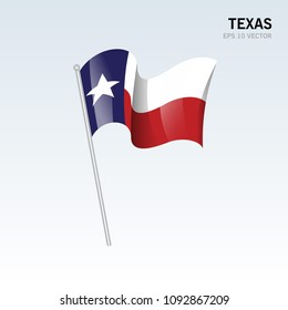 Waving flag of Texas state of United States of America on gray background