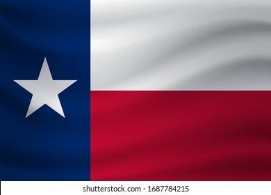 Waving flag of Texas. Vector illustration