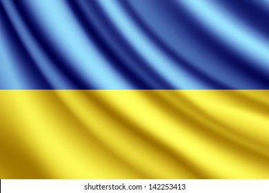 Waving flag of Ukraine, vector