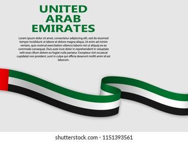 Waving Flag of United Arab Emirates, vector illustration