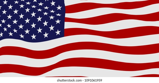 Waving flag of the United States of America, vector illustration