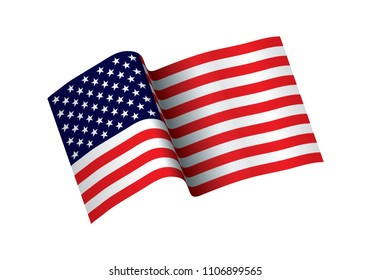 Waving flag of the United States of America. illustration of wavy American Flag for Independence Day. USA flag vector illustration. waving flag of United States of America on transparent background.