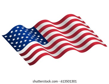 waving flag of the United States of America. Illustration of a waving flag of the United States of America. US flag in rippling with wind. USA design over white background, vector illustration.