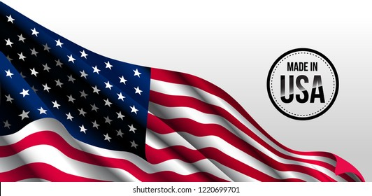 Waving flag of the United States. illustration of wavy American Flag for Independence Day.