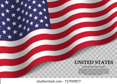 waving flag of United States on transparent background. Template for independence day. vector illustration