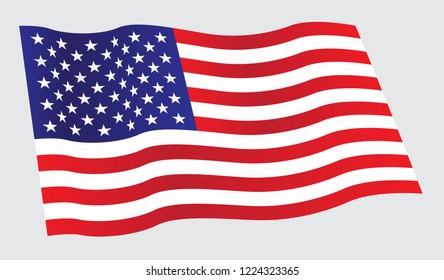 Waving flag of United States. Wavy American flag for Independence Day.