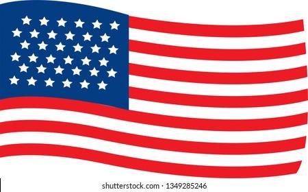 waving flag usa on white background. Vector Illustration.