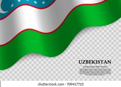 waving flag of Uzbekistan on transparent background. Template for independence day. vector illustration