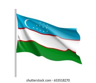 Waving flag of Uzbekistan Republic. Illustration of Asian country flag on flagpole. Vector 3d icon isolated on white background
