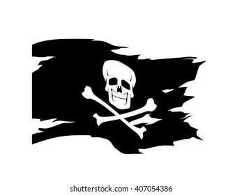 Waving flag vector editable banner ribbon pirates Jolly Roger black flag skull and bones pirate sea
