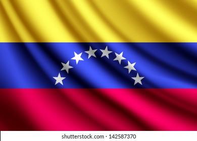 Waving flag of Venezuela, vector