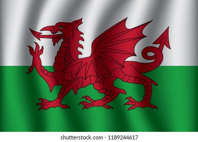 Waving Flag of Wales. Wales Icon vector illustration eps10.