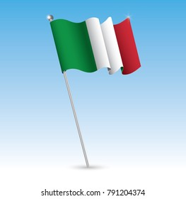 Waving Flag in The Wind with a Blue Sky Background. Vector Illustration.