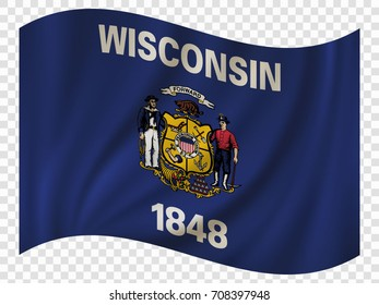 Waving Flag of Wisconsin is a state of USA. Vector illustration