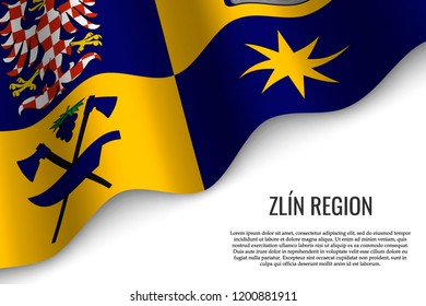 waving flag of Zlin Region is a region of Czech Republic on white background. Template for banner or poster.