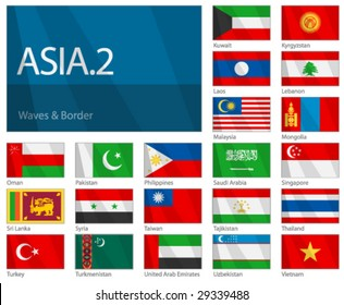 "Waving Flags of Asian Countries - Part 2. Design ""Waves & Borders""."