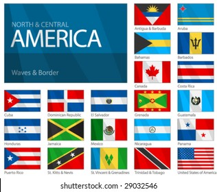 """Waving Flags of North & Central American Countries. Design """"Waves & Borders"""". Waves can be easily removed from vector file if needed."""
