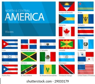 "Waving Flags of North & Central American Countries. Design ""Waves & No Borders"". Shadows (waving design) can be easily removed from vector file if needed."