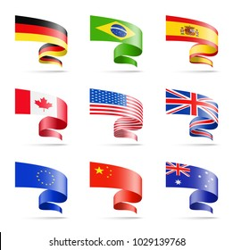 Waving flags of popular countries in the form of ribbons on a white background. Germany, Brazil, Spain, Canada, USA, China, Australia, European Union, United Kingdom
