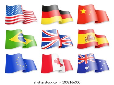 Waving flags of popular countries on a white background. Germany, Brazil, Spain, Canada, USA, China, Australia, European Union United Kingdom