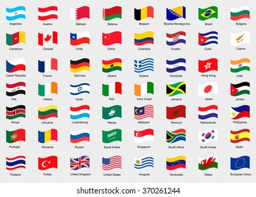 Waving flags of the world. Collection of flags.