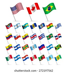 Waving Flags of the world, part 1/6 American continents