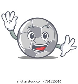 Waving football character cartoon style