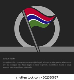 Waving Gambia Flag badge design - independence day Label - Vector illustration