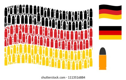 Waving German state flag. Vector ammo bullet elements are united into conceptual Germany flag composition. Patriotic collage constructed of flat ammo bullet icons.