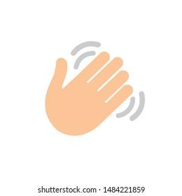 Waving hand flat icon - Vector icon bye