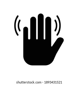 waving hand gesture icon vector